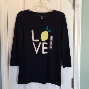 Gap Love Lemon Navy Lightweight Sweater Sz Medium